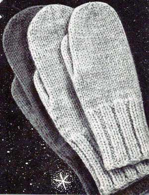 Knitting Pattern For Mittens Using Two Needles : Classic Mittens Pattern Knitting Patterns