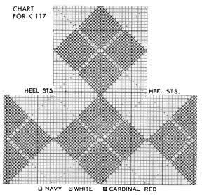Argyle Knitting Pattern Chart : Womens Argyle Anklets No. K117 Knitting Patterns