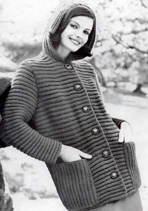 Hooded Coat Sweater, Sizes 10 to 12, 14 to 16 and 18 to 20 Knitting Patterns